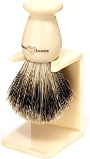 Edwin Jagger Best Badger Shaving Brush With Drip Stand, Imitation Ivory, Medium