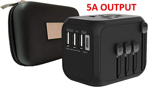 Universal Travel Adapter with Premium Case (high-Speed 5A, 3 USB & 1 Type C Ports and Compatible in Over 200+ Countries)