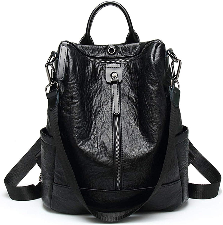 New Backpack Casual Multifunction Women Leather Backpack Shoulder Bag Single Zipper Black