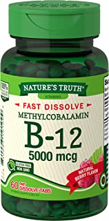 Nature's Truth B12 Vitamin 5000 mcg | 60 Tablets | Fast Dissolve Natural Berry Flavor | Vegetarian, Non-GMO & Gluten Free