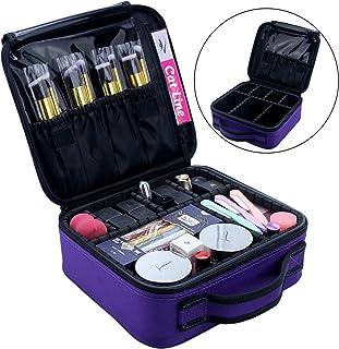 Makeup Case Organizer Travel Bag Cosmetic Train Case Makeup Bags for Women Makeup Brush Storage Box Purple
