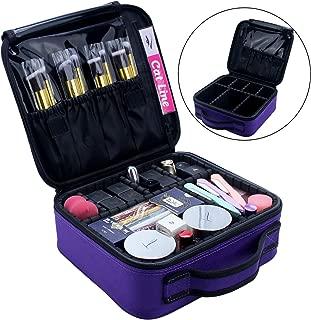 Relavel Makeup Case Organizer Travel Bag Cosmetic Train Case Makeup Bags for Women Makeup Brush Storage Box Purple