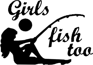 Dead Meat Decals Girls Fish Too (Specify Color Otherwise We Ship White)