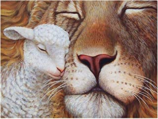 Aphila 5D DIY Diamond Painting Kits for Adults Full Drill Square Resin Rhinestones Embroidery Cross Stitch Home Decor Gift Lion Lamb 30x40cm/12