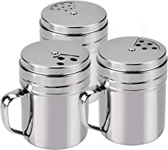 Seasoning Bottle, Outgeek 3Pcs Spice Bottle Airtight Seasoning Bottle with Top Rotatable Shaker Kitchen Gadget (Silver) (jars with handle) (Three size)
