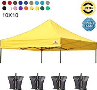 ABCCANOPY Replacement Top Cover 100% Waterproof (18+ Colors) 10x10 Pop Up Canopy Tent Top, Bonus 4 x Weight Bags (Yellow)