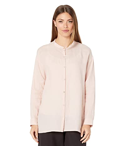 Eileen Fisher Organic Handkerchief Linen Mandarin Collar Shirt (Powder) Women