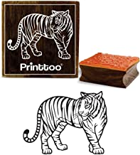 Printtoo Craft Textile Tiger Pattern Square Wooden Rubber Stamp Scrap-Booking-3 x 3 Inches