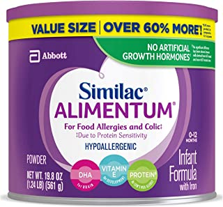 Similac Alimentum, 4 Count, Hypoallergenic Infant Formula, for Food Allergies and Colic, Starts Reducing Excessive Crying Within 24 Hours, Easy to Digest, Lactose-Free Formula Powder, 19.8-Oz Can