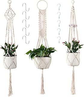 Best Cuttte Macrame Plant Hangers with 10 Hooks, 3 Different Pack, Indoor Outdoor Hanging Planter Basket, Hanging Plant Holders, Decorative Macrame Hangers, 4 Legs 43.3 Inch, Cream Color, Boho Decor Review