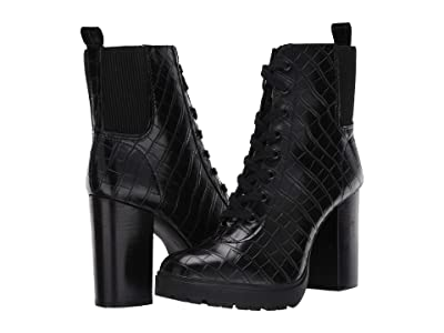 Steve Madden Latch Combat Boot (Black Croco) Women