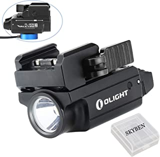 Olight PL-MINI 2 Valkyrie 600 Lumens Cree XP-L HD CW LED Modular Weaponlight Magnetic Rechargeable with Adjustable Rail,Powered by a Built-in Polymer Battery, with SKYBEN Battery Case(Black)
