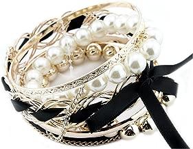 Bonamart Set Of Multilayer Braided Bow Faux Pearl Bead Bracelet Bangle Jewelry - Clearance SALE