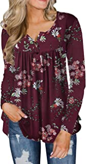 Women's Plus Size Tunic Tops Casual Floral Blouses Long...