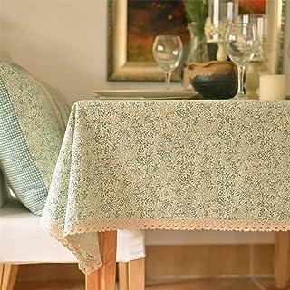 Verde Floral Prin Mantel Mantel de Lino Algodón Lino Lavable Resistente a la decoloración for Pascua Aparador Mesa Hogar y...