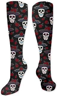 MayBlosom, Calcetines deportivos unisex hasta la rodilla, con calaveras de azúcar, 1 calcetines de compresión para hombres y mujeres