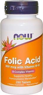 Now Folic Acid 800 Mcg With B12 Tablets - 250 Tablets