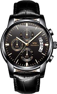 ساعات يد كوارتز عصرية بتصميم رياضي عسكري رسمي مقاومة للماء بسوار من الجلد طبيعي للرجال من اولميكا - 826PD