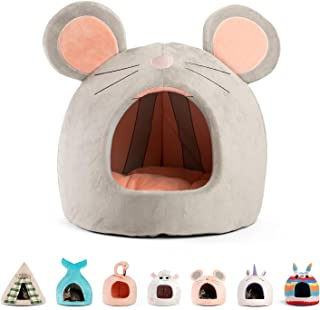 Best Friends by Sheri Mouse Hut, Grey - Cozy Cat and Dog Hut with 360-Degree Coverage for Comfort and Privacy - Removable, Washer-Safe Cushion – Durable, Designer - for Pets Up to 12lbs