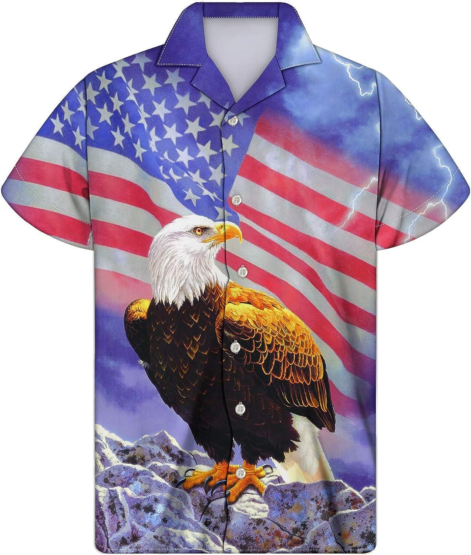 INSTANTARTS Flags Print Men's Teenager Funky Comfort Hawaiian Aloha Shirts