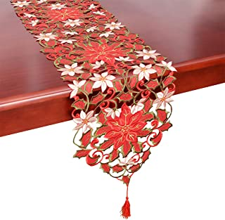 Simhomsen Christmas Holiday Poinsettia Lace Table Runners, Dresser Scarves 13 × 54 Inch-