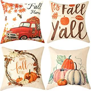 WLNUI Thanksgiving Pillow Covers Fall Harvest Decorative Throw Pillow Covers 18x18 Inch Cotton Linen Pumpkin Cushion Case for Sofa Couch Home Farmhose Decor