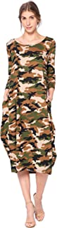Camouflage Print 3/4 Sleeve Bubble Hem Pocket Midi Dress - Made in USA