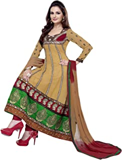 Florence Women's Georgette Straight Salwar Suit Set (SB-1706-Aug2019_Chikoo_One Size)