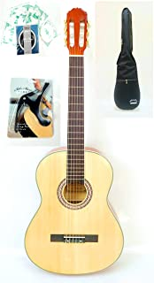 Mike Music Full Size 40 Nylon-String Classical Guitar with Bag,Strings,Capo (40C, Natural)