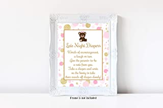 Teddy Bear Baby Shower, Late Night Diapers Sign, Pink and Gold Baby Shower, Girl Baby Shower, Baby Shower Games, 8x10 Glossy Sign, Frame is NOT included