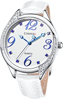 Comtex Women Watches white Dial with crystal white Leather Strap Ladies number Wristwatches