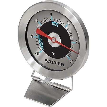 Salter Thermomètre Analogique Pour Réfrigérateur et Congélateur   -30°C à +30°C, Aliments Maintenus au Frais, Inox, Capteur Bimétallique pour Température Précise, Avec Crochet, Garanti 2 Ans   Argent