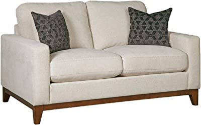 Benjara Fabric Upholstered Loveseat with Track Armrests and Chamfered Legs, Beige