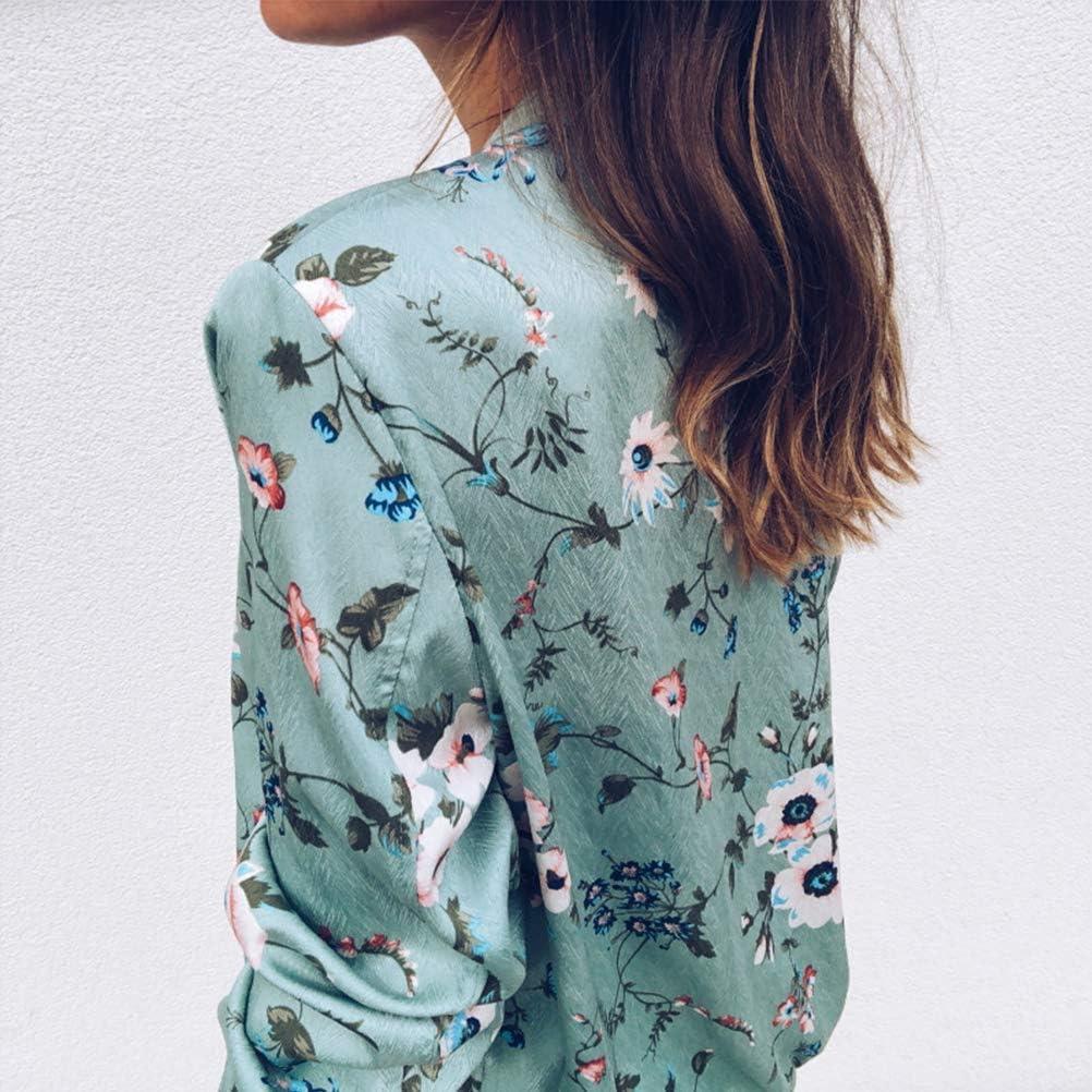 SODSIM Bomberjacke Damen Blumen Leicht Kurze Jacke Frühling Herbst Reißverschluss Stehkragen Casual Coat Outwear Grün