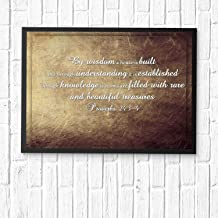 HaiGuoQu by Wisdom a House is Built, and Through Understanding it is Established; Through Knowledge is Rooms.Bible Verse Wall Art,Scripture Gifts,Bible Quote Print,Christian Art Framed 12x10in