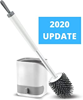 Silicone Toilet Brush and Holder | Wall Mountable with Drip Drawer | Toilet Bowl Cleaner | Toilet Bowl Brush Non-Scratch Bristles | Toilet Brush with Holder & Anti-Rust Handle | Bathroom Cleaner