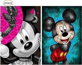 2 Pack 5D Diamond Painting Kits Full Drill Diamond Embroidery Cartoon Pattern Mickey and Minnie 12x16 inch