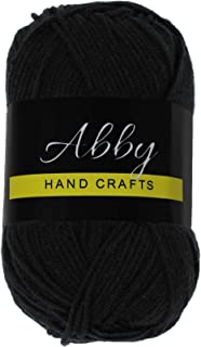 Abby Hand Crafts 100% Milk Cotton Yarn, Black, Single Ball 50g / 109 Yards (100m)
