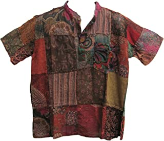 Men's Indian Vintage Bohemian Hippie Brown Patchwork Short-Sleeved Shirt