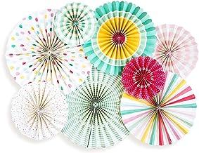 8 Assorted Round Paper Fans Tissue Golden/Silver/Pink/Hanging Paper Craft Best Paper Fan for Baby Shower Birthday Wedding ...