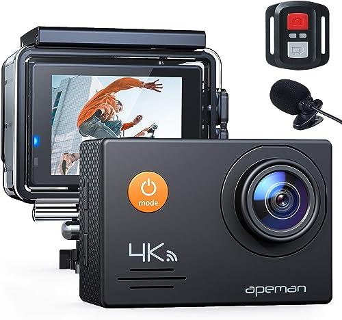 APEMAN Action Cam A79 PRO, 4K 20MP WiFi Impermeabile 40M con Telecomando e Microfono Esterno Fotocamera Subacquea Dig...