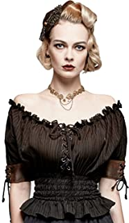 Punk Rave Women's Steampunk Smocked Blouse Renaissance Victorian Off Shoulder Shirts Lace Up Tops Halloween Costume