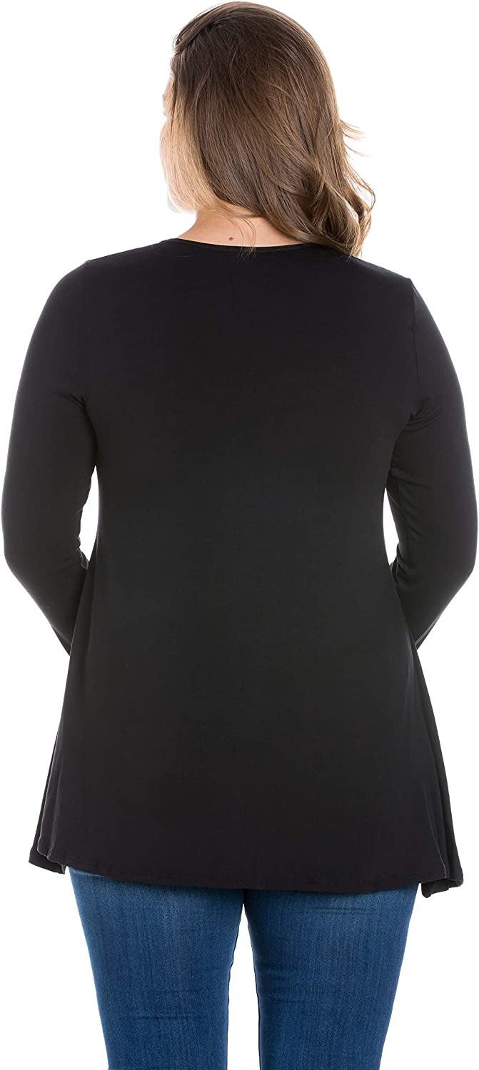 24seven Comfort Apparel Poised Long Sleeve Swing Plus Size Tunic Top