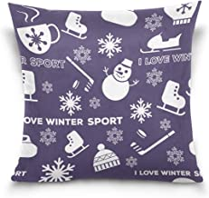 """MASSIKOA Winter Sports Snowman Decorative Throw Pillow Case Square Cushion Cover 18"""" x 18"""" for Couch, Bed, Sofa or Patio -..."""