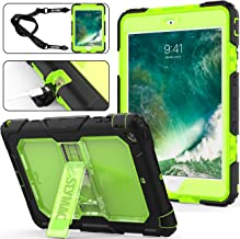iPad Mini 1/2/ 3 Case, 3 Layers Shockproof Full-Body Rugged Hard PC & Soft Silicone Case with [Portable Shoulder Strap] & [Built-in Kickstand] for iPad Mini 1st/ 2nd/ 3rd Generation (Green/Black)