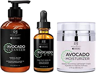 Radha Beauty Avocado Complete Facial Care Kit - 3-in-1 Anti-Aging Set with Cleanser, Serum, and Moisturizer for Wrinkles, ...
