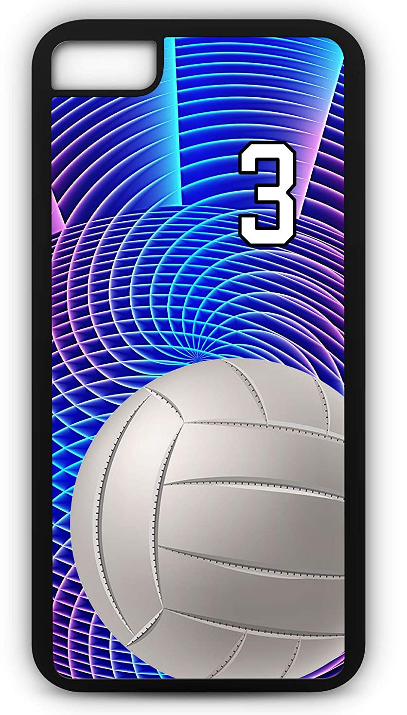 iPhone 8 Case Volleyball V049Z Choice of Any Personalized Name or Number Tough Phone Case by TYD Designs in White Plastic and Black Rubber with Team Jersey Number 3