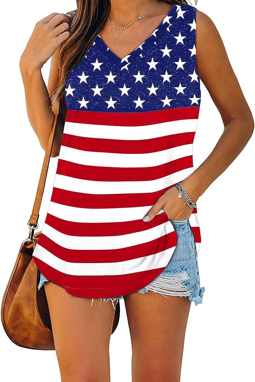 Japan Maker New Womens Very popular Tops Sleeveless V Neck American Casu Patriotic Flag Tunic