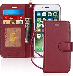 FYY [Luxury Genuine Leather Wallet Case for iPhone 6S Plus/iPhone 6 Plus, [Kickstand Feature] Flip Folio Case Cover with[C...