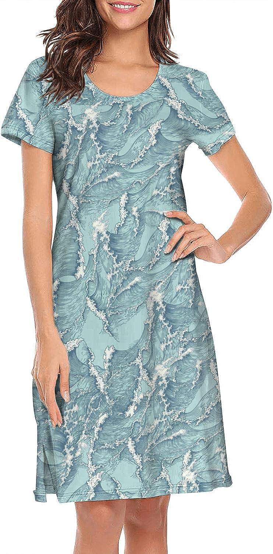 ZWEN Women's Ukiyo-e Blue Wave Wrong Spell Nightgown Classic Nightshirt Breathable Sleepshirts